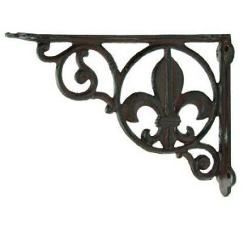 decorative wall brackets for shelves 2 cast iron fleur de lis wall brackets decorative shelf