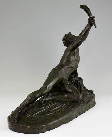 classical antique bronze sculptures figurine old man soldier of marathon antique bronze sculpture man with