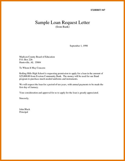 loan application letter sle to bank
