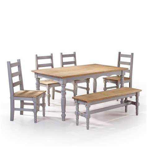 wooden table and bench set manhattan comfort jay 6 piece gray wash solid wood dining