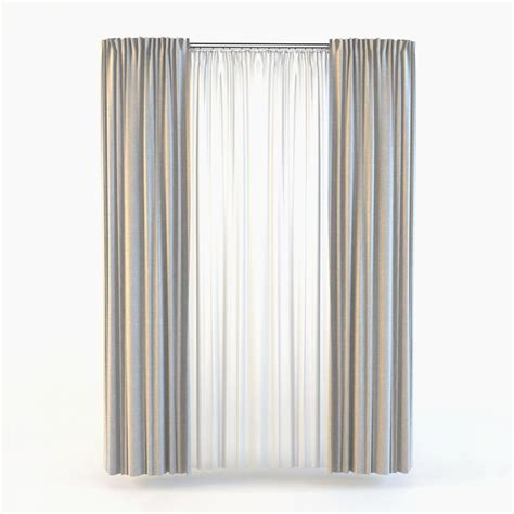 curtain models 3d straight curtain tulle model
