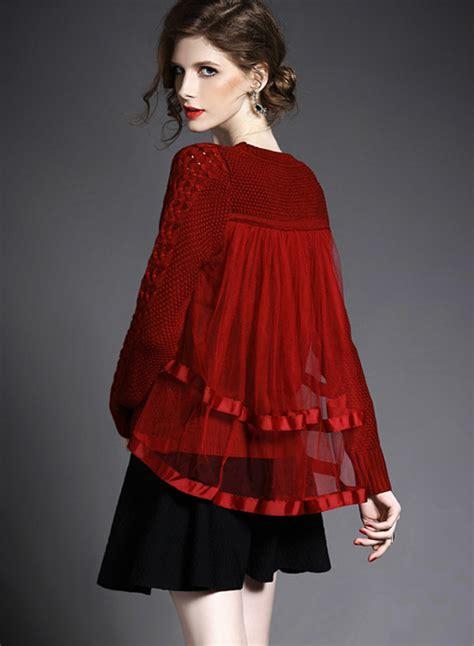 Panel Sleeve Sweater sleeve mesh panel knit pullover sweater novashe