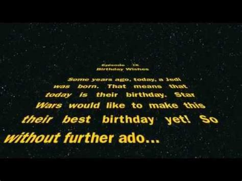 happy birthday, from star wars youtube