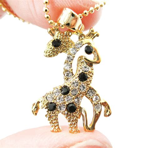 Rhinestone Animal Pendant Necklace entwined giraffes shaped rhinestone animal pendant
