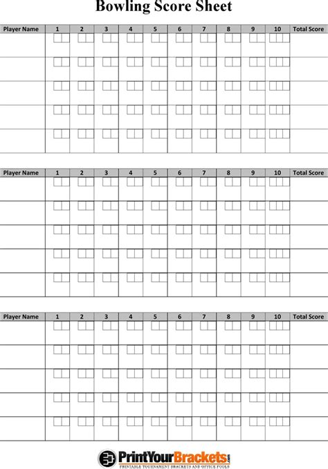 Ten Pin Bowling Score Sheet Template by Bowling Score Sheet Template 9 Free Sle Bowling Score