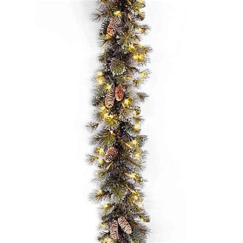 9 ft indoor pre lit glittery bristle pine artificial christmas tree martha stewart national tree company 9 foot glitter pine pre lit garland with clear lights bed bath beyond