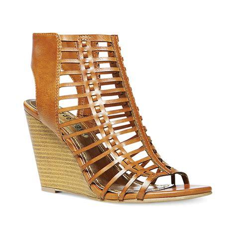 madden wedge sandals madden coasterr birdcage wedge sandals in brown lyst