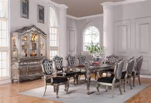 5 Piece Formal Dining Room Sets by Chantelle Collection Antique Platinum Finish Formal 7
