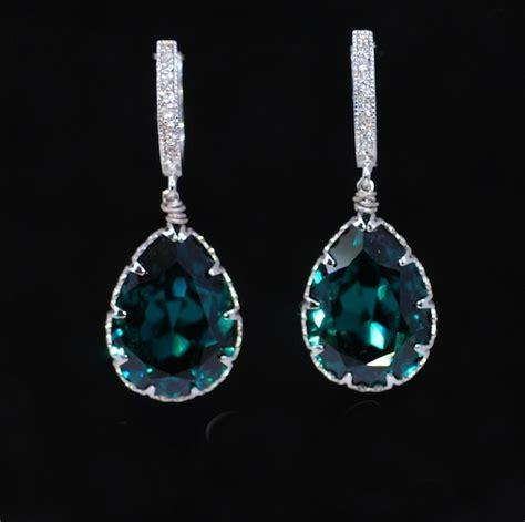 Green Cubic Zirconia 13mm wedding earrings bridesmaid earrings cubic zirconia