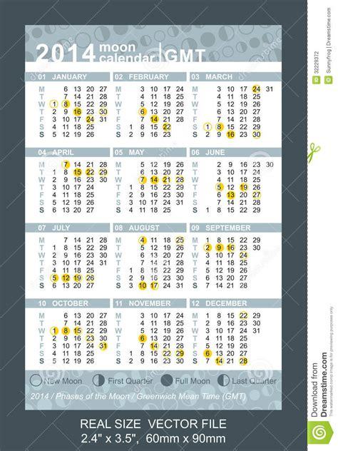 Calendario C Lua 2014 Calend 225 2014 Do Bolso Fases Do Gmt Da Lua