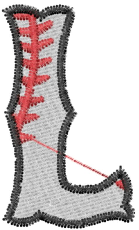 l designs alphabet embroidery design baseball letter l from