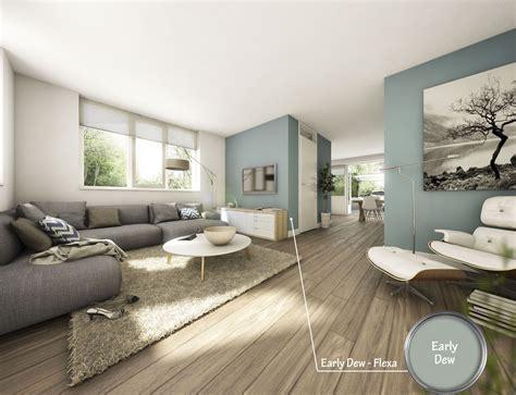 Woonkamer Kleur Verf | frisse woonkamer met prachtige kleur early dew van flexa