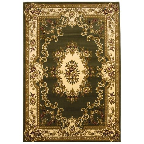 rug 7 x 10 kas rugs aubusson green 7 ft 7 in x 10 ft 10 in area rug cor531277x1010 the home depot