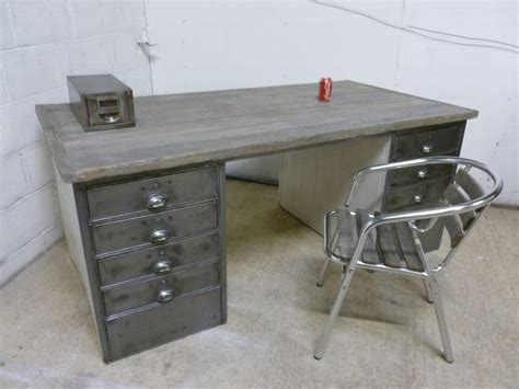 Vintage Metal Office Desk Antique Antique Vintage Industrial Polished Steel Wood Metal Office Desk Retro Eames