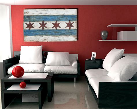 paintings home decor handmade distressed wooden chicago flag vintage