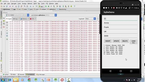 tutorial android studio sqlite 27 android sqlite tutorial finally running the app