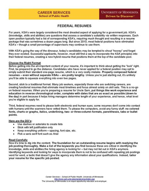 federal government posting resume services