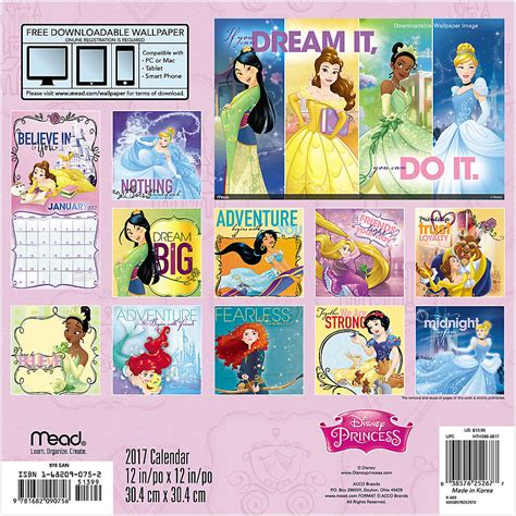 2018 disney princess wall calendar day image gallery disney princess 2017