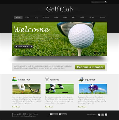 Club Templates Free golf club website template design psd 6 website template psd sale preview