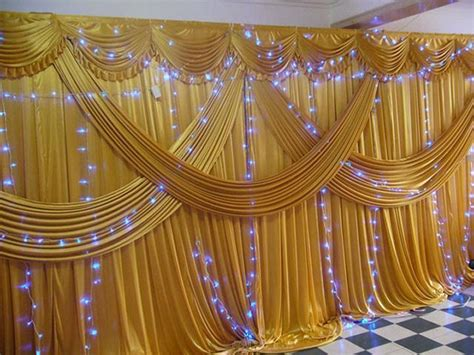 Wedding Background Drapes by Gold Silk Curtains Promotion Shop For Promotional Gold