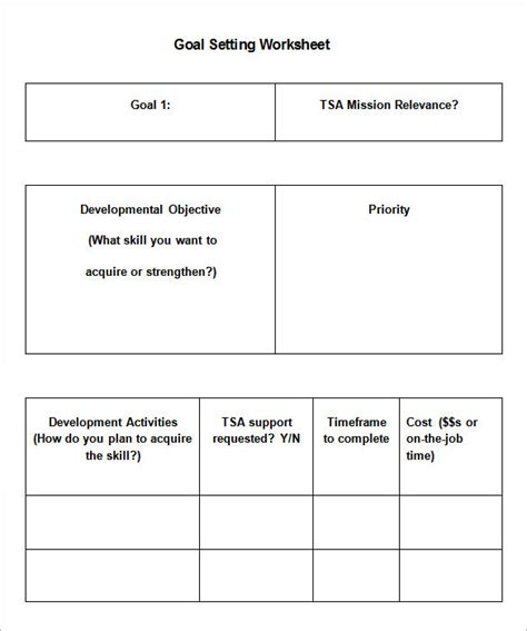8 goal setting worksheet templates free word pdf