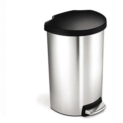 40 liter brushed stainless steel semi step trash can