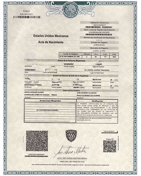 Mexico Birth Records Birth Certificate Acta America