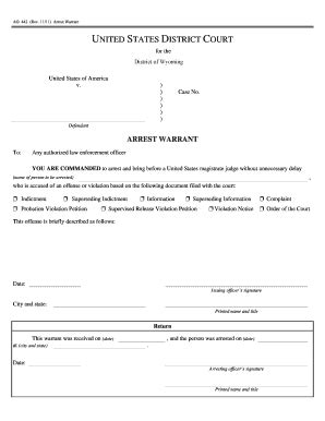 warrant card template arrest forms fill printable fillable blank