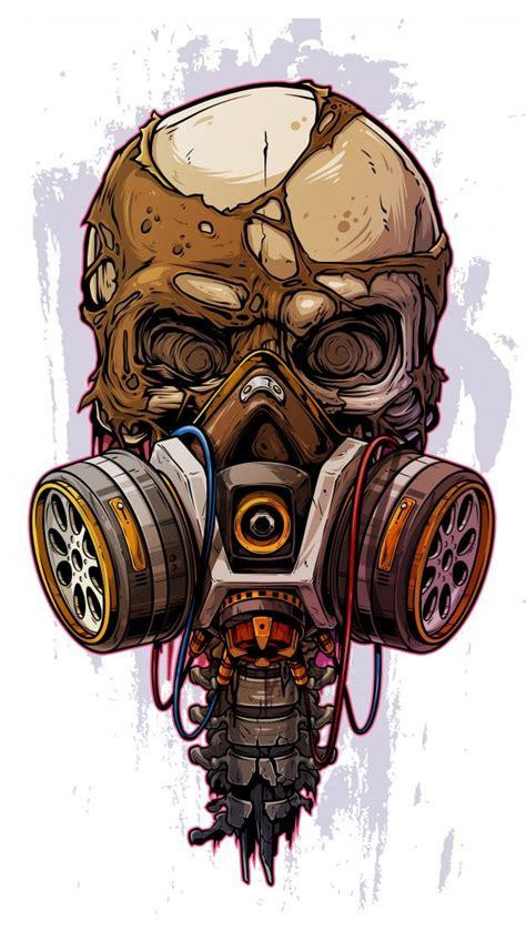 cranio humano colorido detalhado  mascara de gas