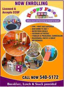 Grand opening daycare flyers happy faces home daycare llc