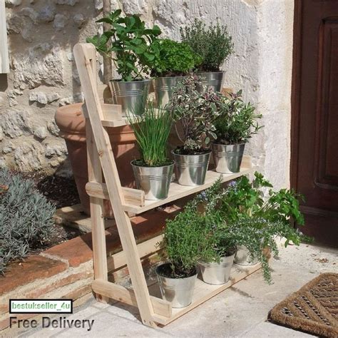 Herb Plant Standing Hanging Planter Natural Wood 3 Tier Patio Herb Planters