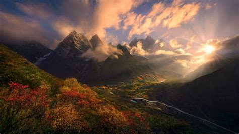wallpaper sunlight landscape forest fall mountains