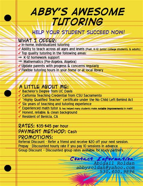 tutoring flyer template 9 best images about tutoring on to be