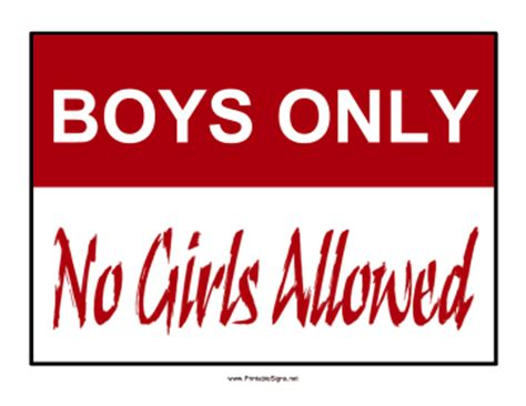 printable boys only sign sign