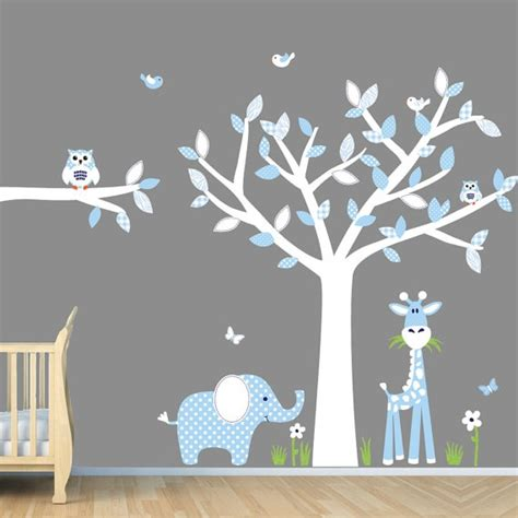 Baby Nursery Wall Decal Baby Blue Nursery Wall Jungle Wall Decals Boy Wall Decals Tree Decals Sg Size