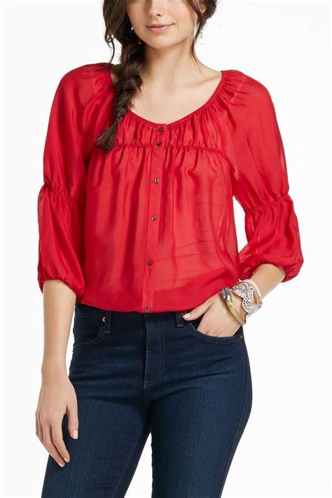 Silvi Blouse virginia silvi peasant blouse in crimson lyst