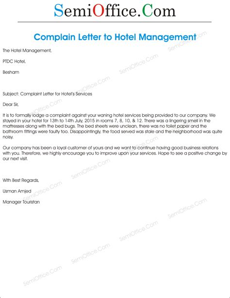 Complaint Letter To The Manager Of A Company Complaint Letter To Hotel Management