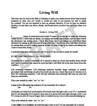 living will template living will