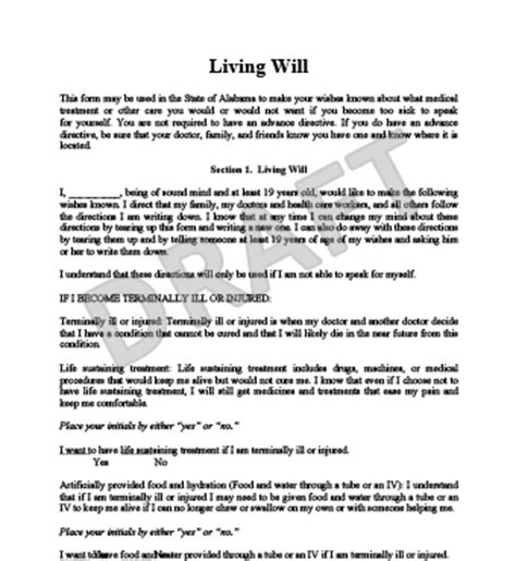 create a free living will form legaltemplates