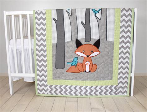 Quilts And Blankets by Woodland Blanket Birch Tree Crib Quilt Personalized Fox Crib