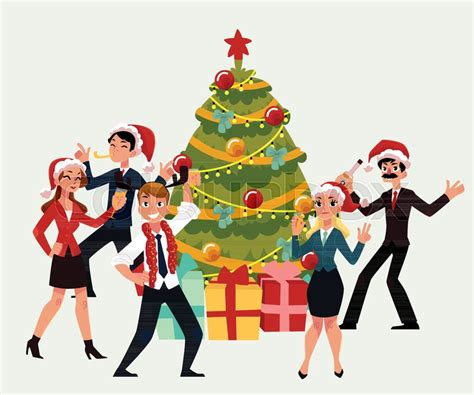 dancing christmas tree hat happy corporate around tree vector