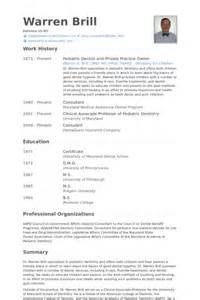 pediatric dentist resume sles visualcv resume sles
