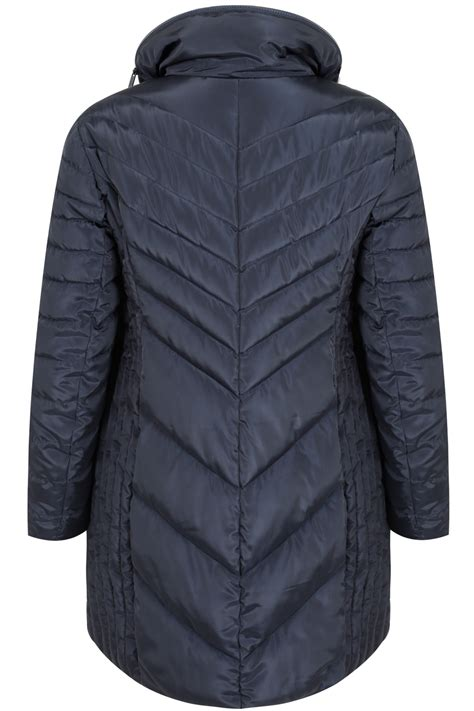 Navy Quilted Jacket With by Navy Longline Quilted Puffer Jacket With Invisible