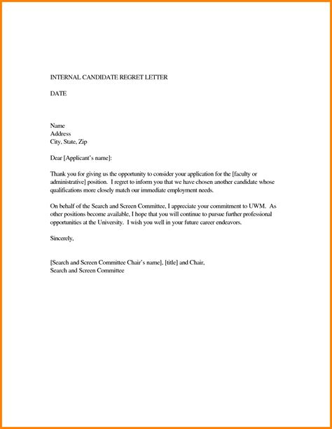 Regret Letter Template 8 Letter Of Regret Cna Resumed