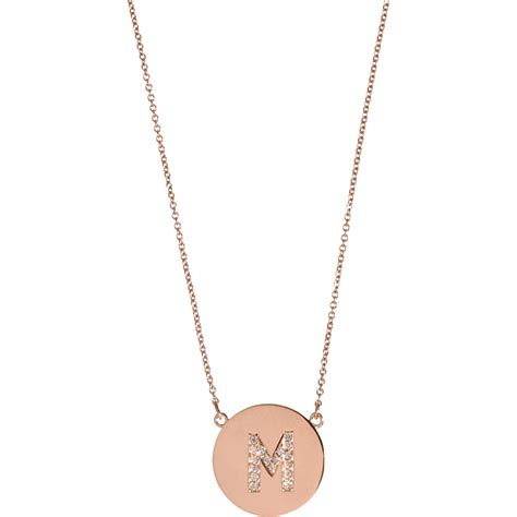 Kalung Fashion Choker Forever21 Letter A Pendant Layer meyer gold m pendant necklace in pink lyst