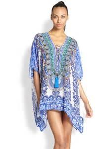 camilla silk chiffon lace up short caftan in blue lyst