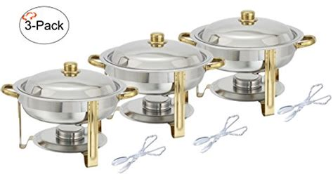 buffet warmer set tiger chef 3 pack 4 quart chafing dish buffet warmer set gold accented chafer includes