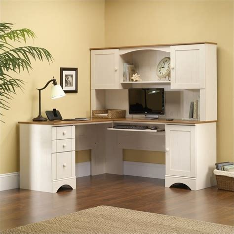 sauder antique white desk corner computer desk in antiqued white 403793