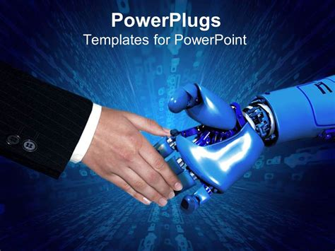 Powerpoint Template Handshake Between Business Man In Black Suit And Robotic Arm With Blue Robot Powerpoint Template