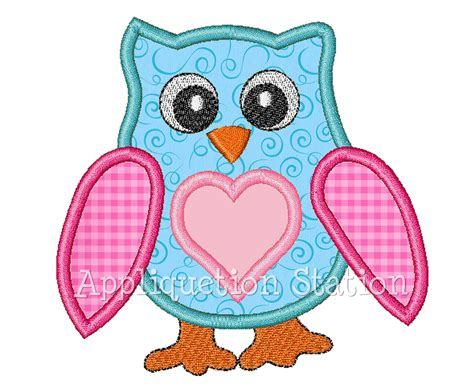 embroidery design video download owl heart applique machine embroidery design girl instant